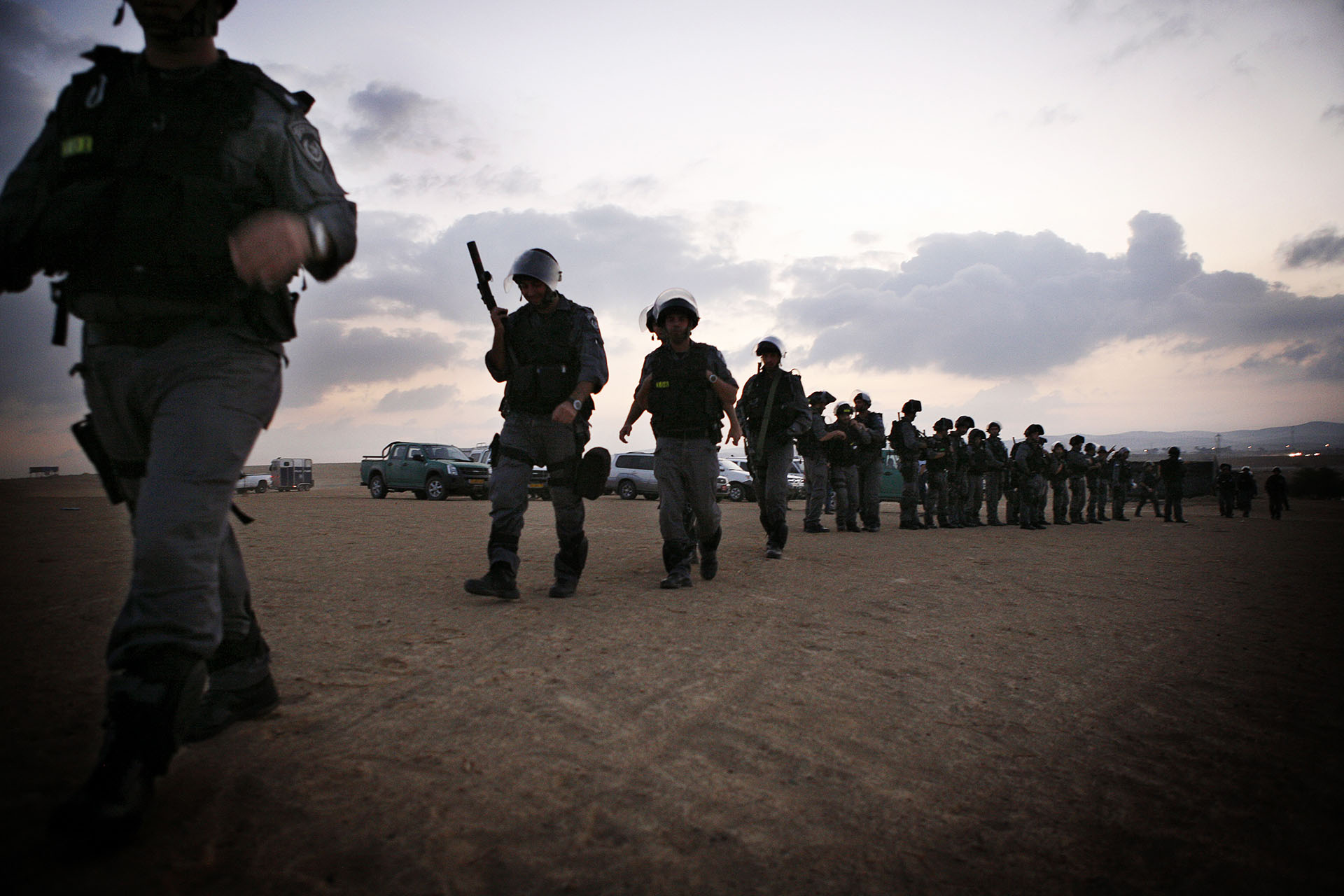 Israeli police officers enter Al Araqib to raze it to the ground. The first demolition happened on 27 July 2010. The state maintains the Al Turi are occupying land that is not theirs, while the Al Turi have historical documents proving their ties to the land. The legal fight is ongoing and so are the demolitions. September 2009