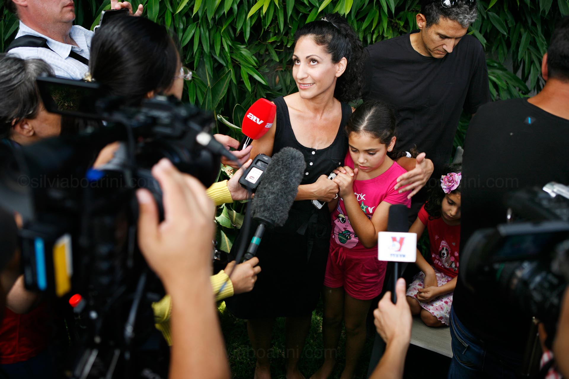 A meeting with an Israeli family in Ashkelon is organized for the press. The Lau answered questions about daily life during Operation Protective Edge, as Israel named the Gaza war of 2014.  Ashkelon, Israel July 2014