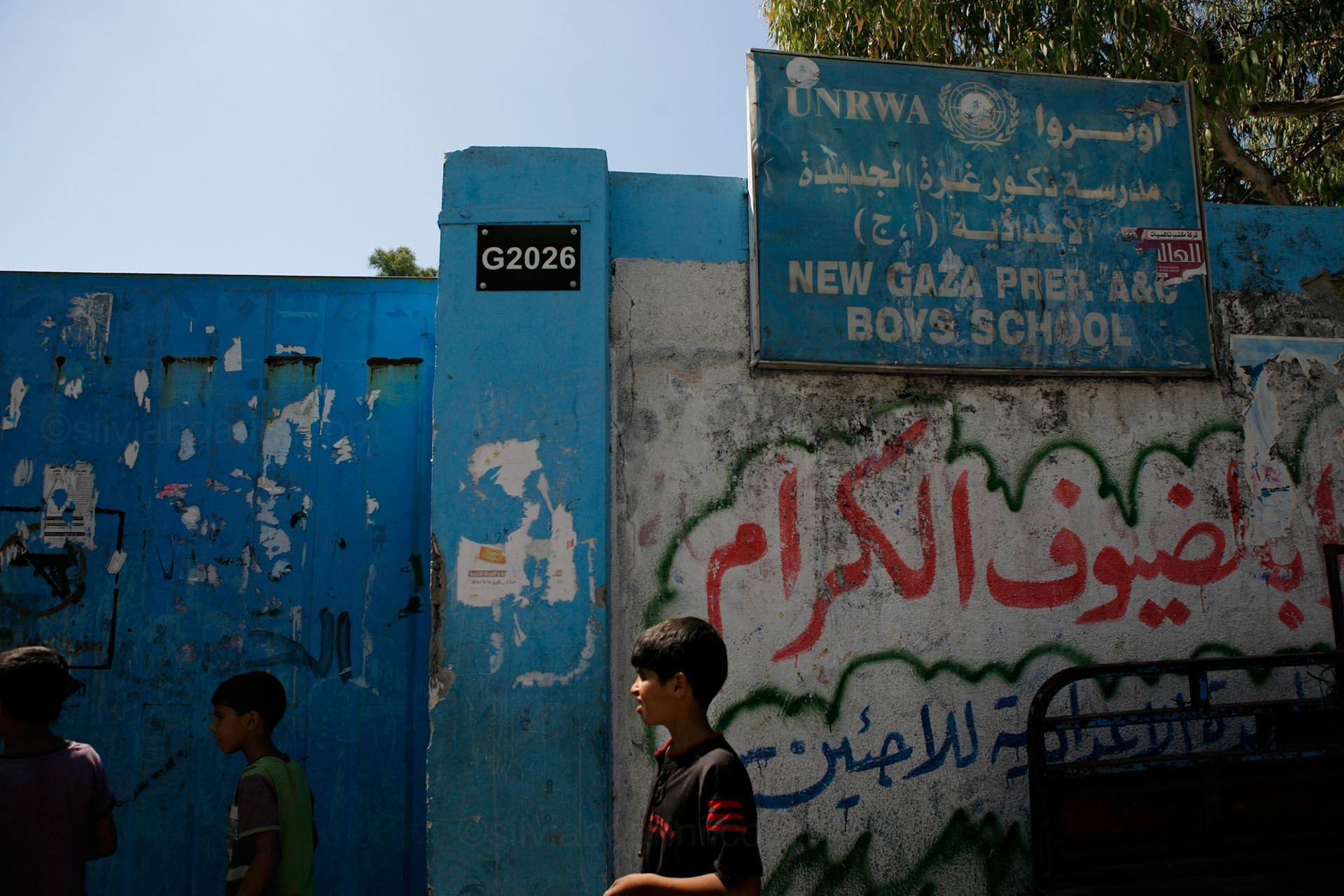 A UNRWA school in Gaza city. Up to half a million people were displaced during the war. Gaza, July 2014
