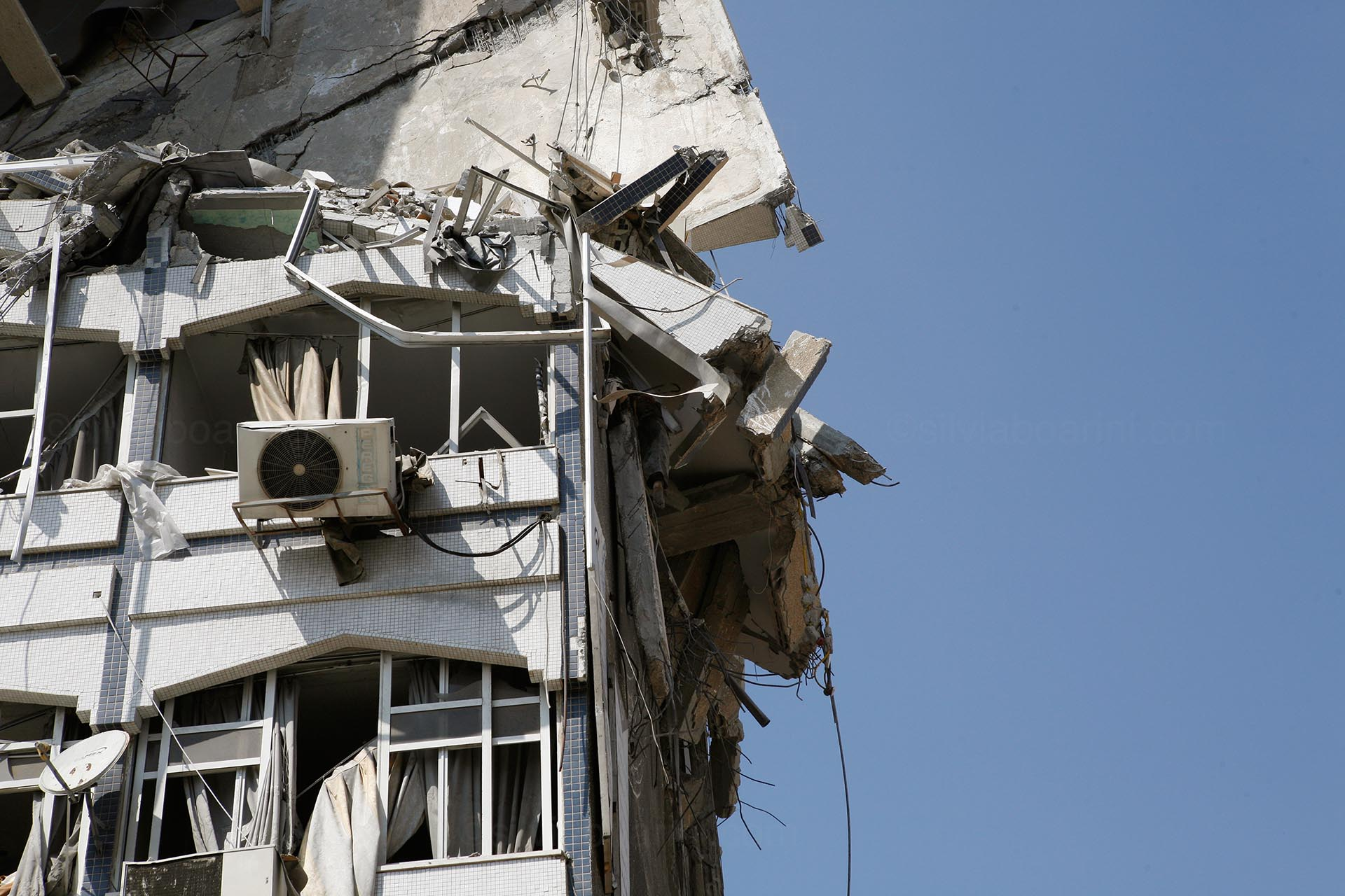 A residential tower in Gaza was bombed over night. Gaza, July 2014
